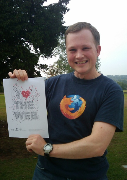 Gerv with 'I Love The Web' poster and Firefox t-shirt