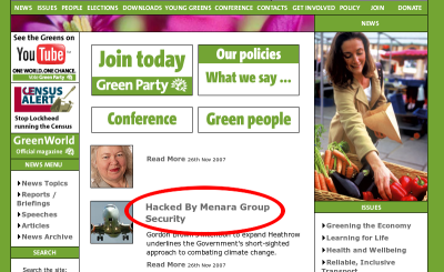 Screenshot of the greenparty.org.uk website saying