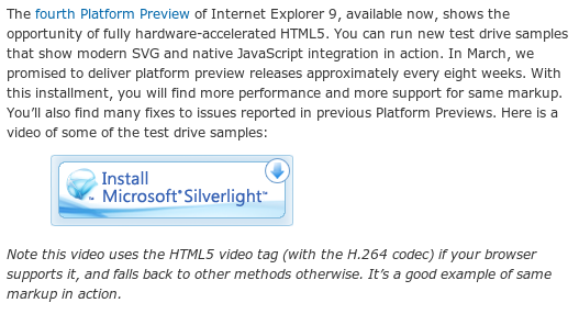 Screenshot of MS blog, with Install Silverlight button, then 'Note this video uses the HTML5 video tag (with the H.264 codec) if your browser supports it, and falls back to other methods otherwise. It's a good example of same markup in action.'