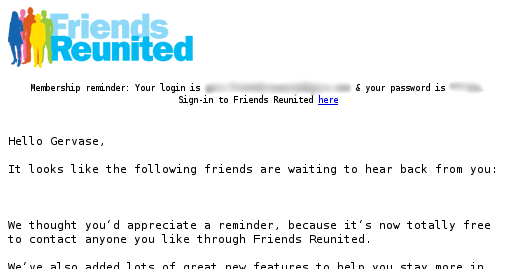 Screenshot of email frm Friends Reunited saying Gerv has 0 friends who want to be in contact with him...