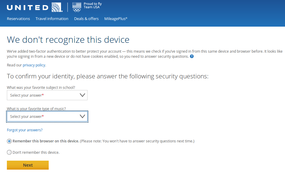 united.com screenshot asking two security questions because my device is unknown